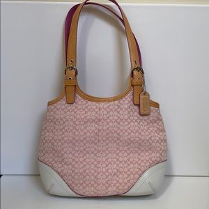Coach Pink Canvas Signature Bag w/white leather